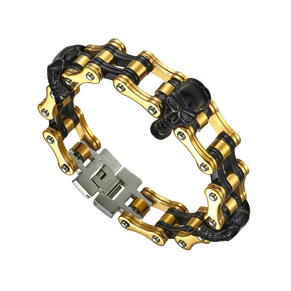 Skull Link Bracelet Stainless Steel Gold Black Finish Unique Motorcycle Chain