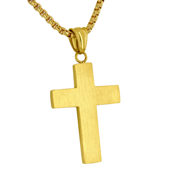 Yellow Gold Finish Cross Pendant Simulated Diamond Free Necklace Stainless Steel