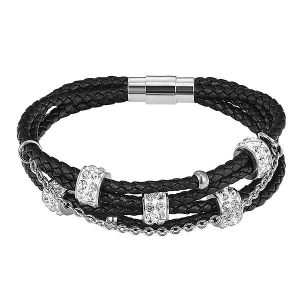 Black Woven Leather 14k White Gold Finish Solitaire Charm Bracelet Magnetic Clasp