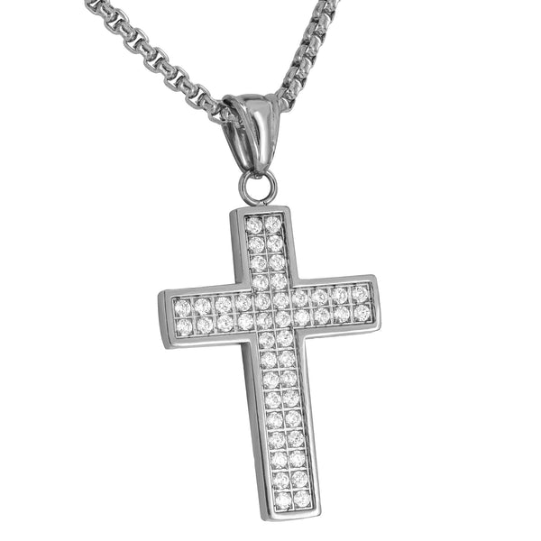 Simulated Diamonds Cross Pendant White Stainless Steel Free Necklace Set Charm