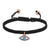 Black Braided Woven Bracelet 14k Rose Gold Finish with Turquoise Evil Eye Charm