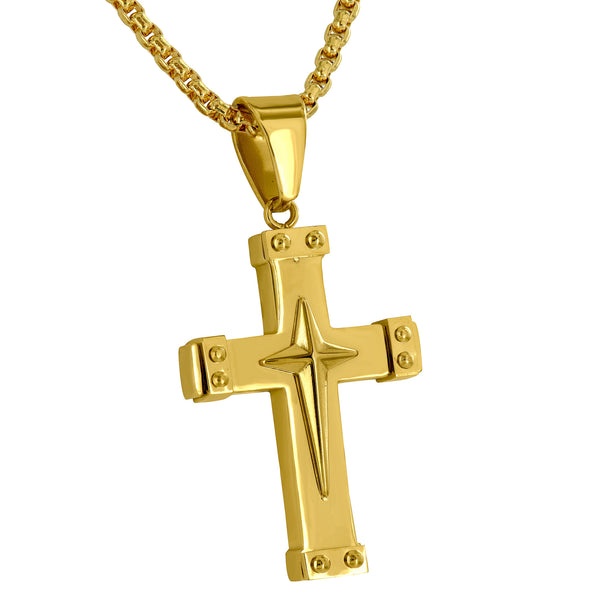 Stainless Steel Cross Pendant Free Necklace Jesus Charm Yellow Gold Finish Mes