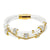 14k Gold Finish White Woven Leather Solitaire Round Charm Bracelet Magnetic Clasp