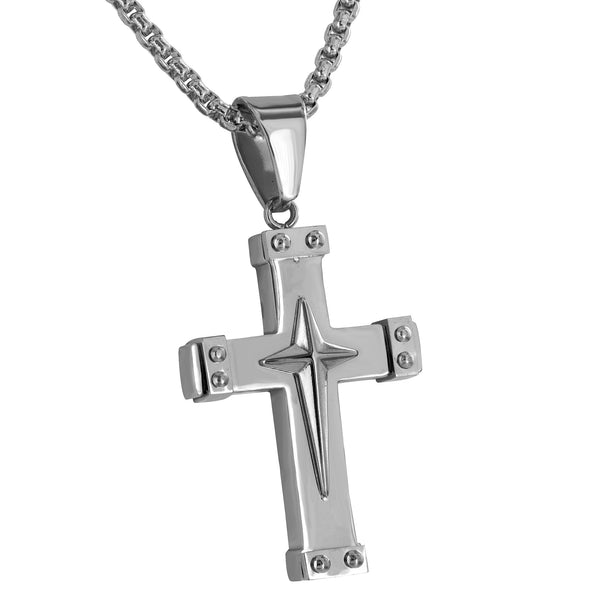 Stainless Steel Cross Pendant Free Necklace White Mens Custom Jesus Crucifix
