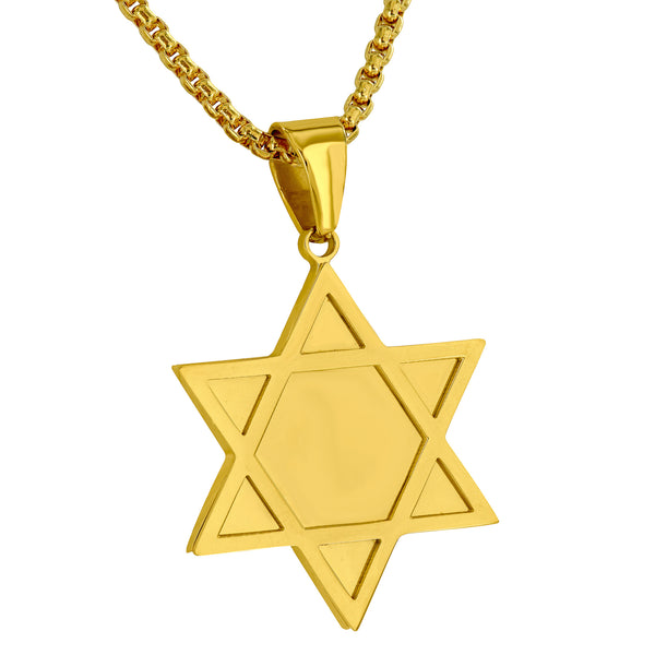Star Of David Pendant Yellow Gold Over Stainless Steel Mens Custom New Necklace