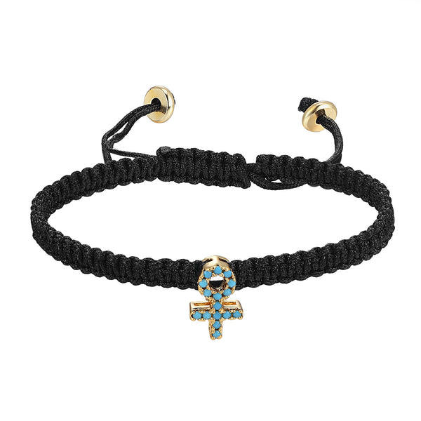 Religious Ankh Cross Charm Turquoise Stones Black Braided 14k Gold Finish Woven Bracelet