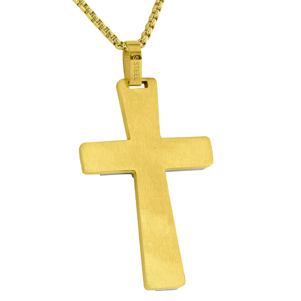 Celtic Yellow Cross Pendant Stainless Steel
