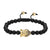 Designer Buddha Head Charm Matte Black Bead 14k Gold Finish Bracelet Braided Lock