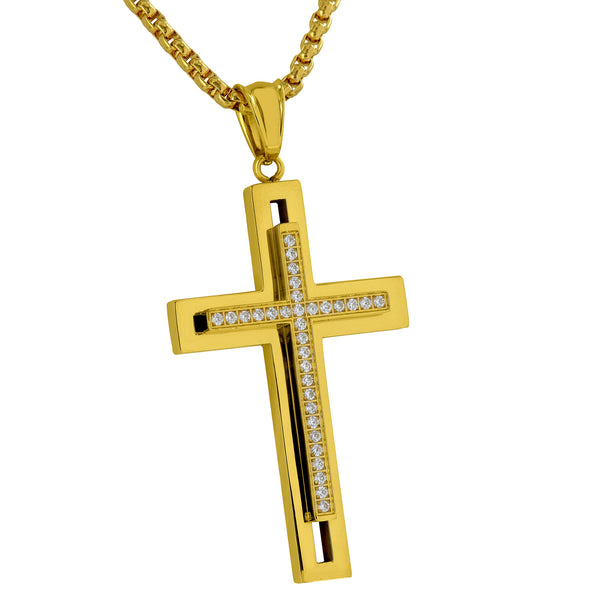 Gold Finish Cross Pendant Chain Slim Designer Stainless Steel Simulated Diamond