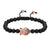 Religious Buddha Head Charm Matte Black Bead 14k Rose Gold Finish Bracelet Braided Lock