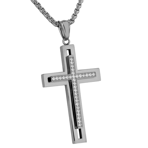 Stainless Steel Jesus Cross Pendant Simulated Diamonds White Free Necklace Mens