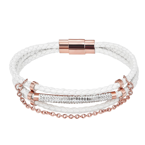 Designer White Woven Iced Out ID Bar 14k Rose Gold Finish Leather Bracelet Magnetic Clasp