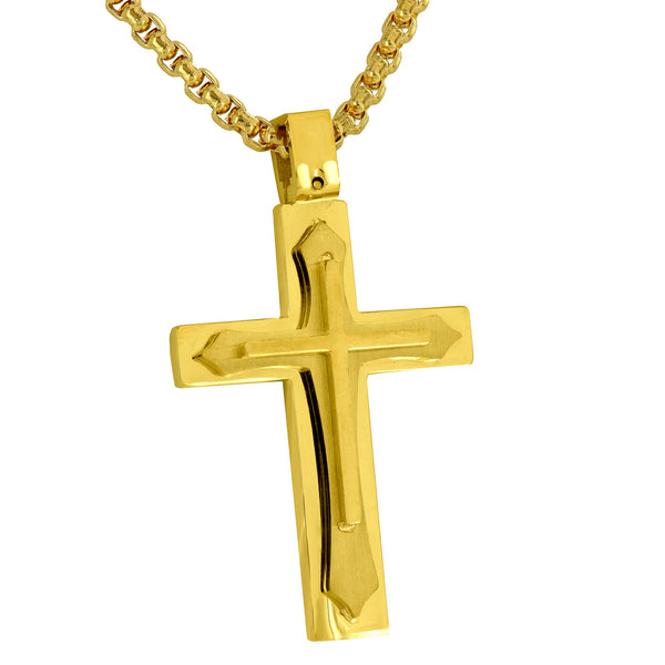 Mens Gold Cross Pendant Necklace Set Jesus Crucifix Designer Stainless Steel New