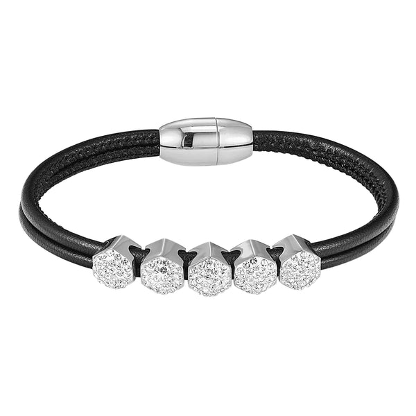 14k White Gold Finish Hexagon Iced Out Charm Leather Bracelet Magnetic Clasp