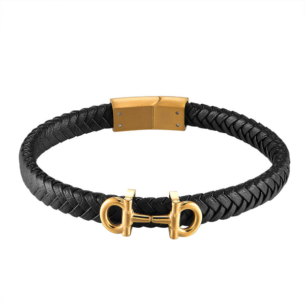 14k Gold Finish AA Design Bracelet Braided Black Leather Stainless Steel 10mm Mens