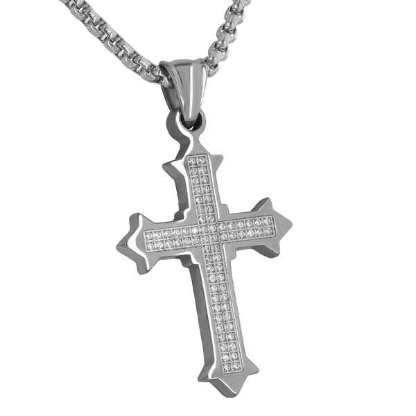 Jesus Cross Crucifix Pendant Simulated Diamonds Stainless Steel Free Necklace