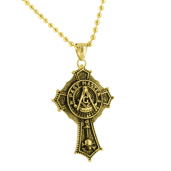 Past Master Masonic Pendant Yellow Gold Over Stainless Steel Moon Cut Necklace