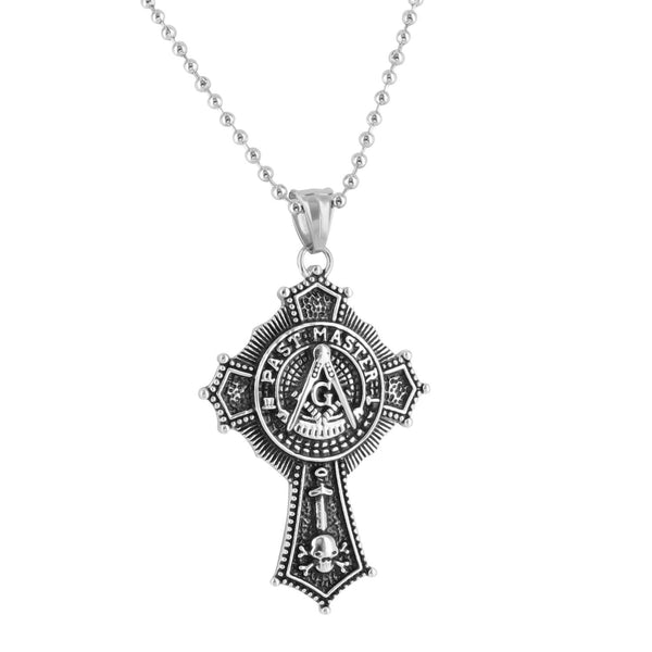 Freemason Past Master Pendant White Moon Cut Necklace Stainless Steel Brand New
