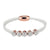 Designer White Leather 14k Rose Gold Finish Hexagon Iced Out Charm Bracelet Magnetic Clasp