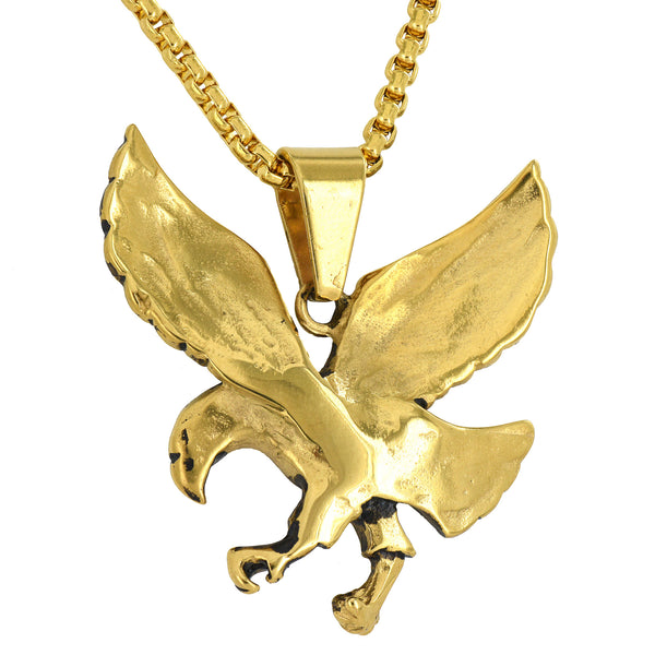 Flying Bird Steel Oxidised Look Gold Finish Charm Necklace