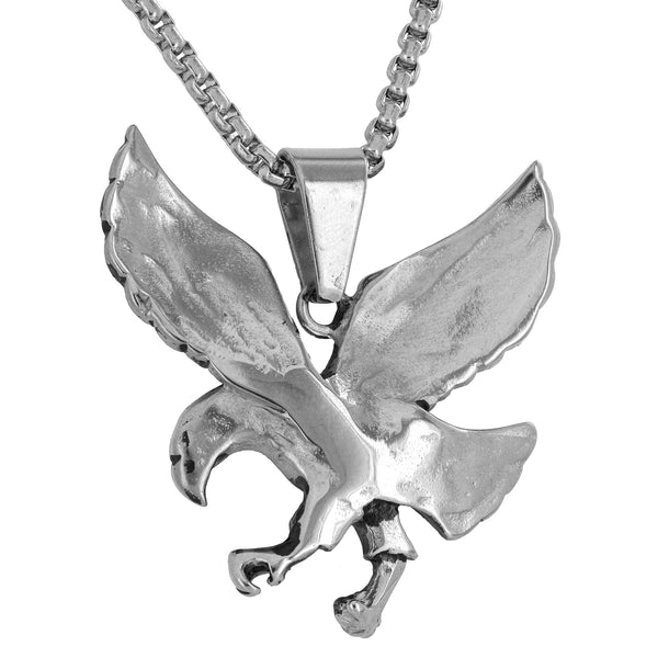 Flying Bird Steel Oxidised Look White Gold Finish Charm Necklace