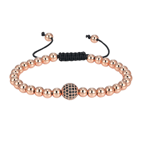 Glossy Bead Ball 14k Rose Gold Tone Black Lab Diamonds Round Charm Bracelet Braided