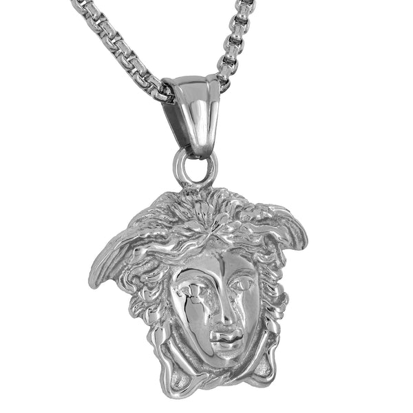 Medusa Face Pendant Charm Free Necklace Chain 24 Inch Designer Mens Womens 1.4