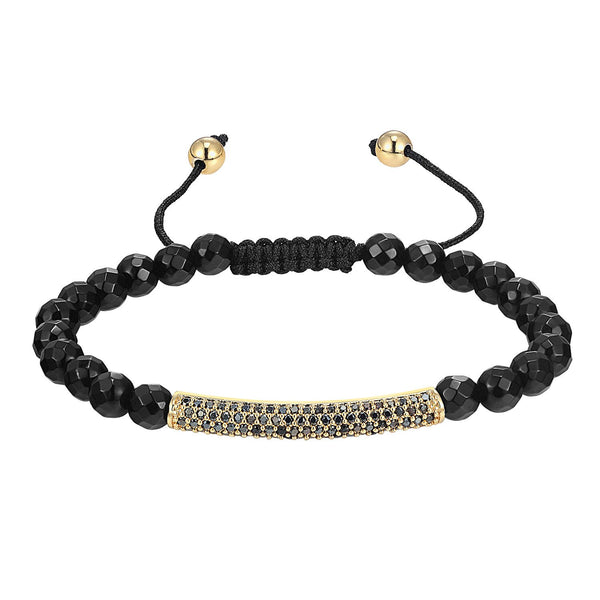 Fashion Bling Bar Design 14k Gold Finish Bracelet Black Bead ball Link New Braided
