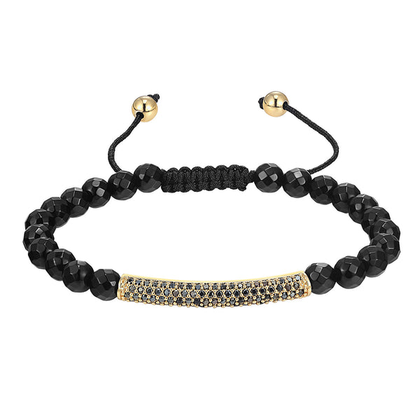 Fashion Iced Out Bar Design 14k Gold Finish Bracelet Black Bead ball Link New Braided
