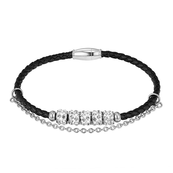 Designer Iced Out Rings Charm Black Single Row Leather Bracelet Magnetic Clasp