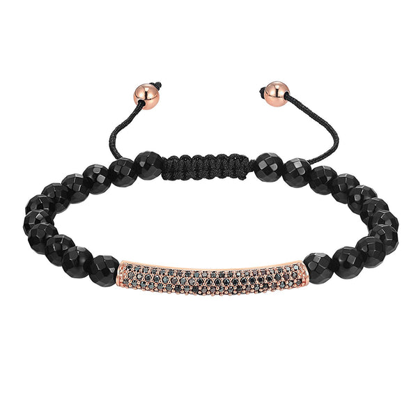 ID Bar Design Bracelet Black Bead 14k Rose Gold Finish Braided Lock