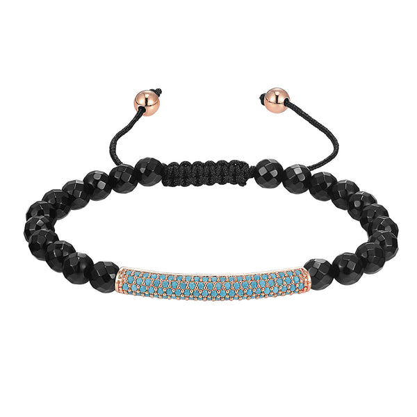 Black Bead Ball Bracelet 14k Rose Gold Tone Turquoise Simulated Stones Classy Braided Lock