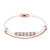 14k Rose Gold Finish White Single Row Iced Out Rings Charm Leather Bracelet Magnetic Clasp