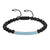 Turquoise stones ID Bar Bracelet 14k White Gold Tone Black Bead Links Braided