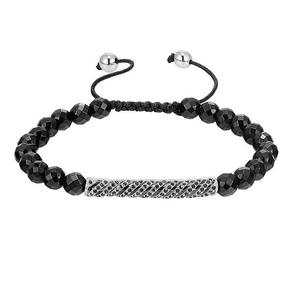 Fashion Disco Ball Style ID Link Bracelet Black Lab Diamonds Silver Tone Braided