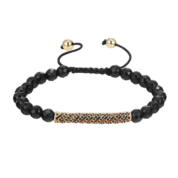 Black Bead Ball Link Bracelet 14k Gold Finish Black Simulated Diamonds ID Bar Design