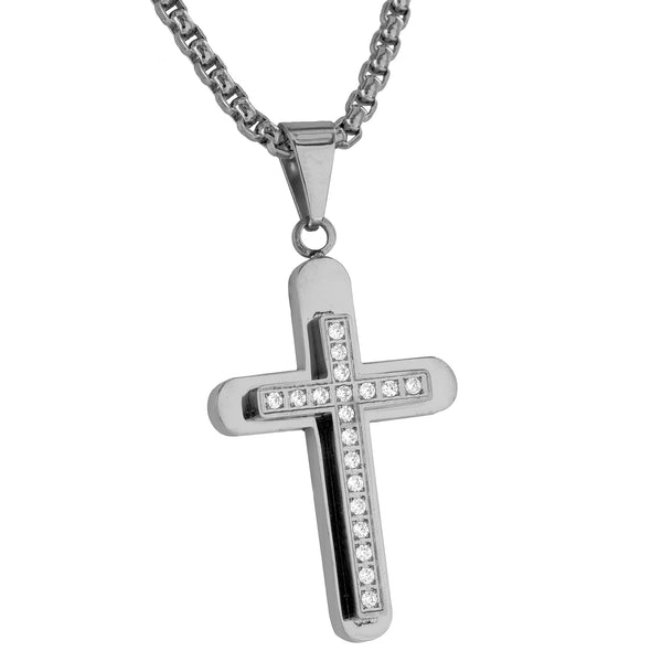 White Cross Pendant Stainless Steel Simulated Diamonds Free Necklace Brand New