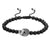 Matte Black Bead Ball Bracelet  Skull Skeleton Head Black Lab Diamonds Charm
