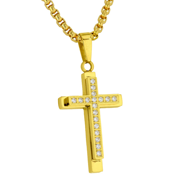 Yellow Gold Finish Cross Pendant Simulated Diamonds Stainless Steel Necklace Set