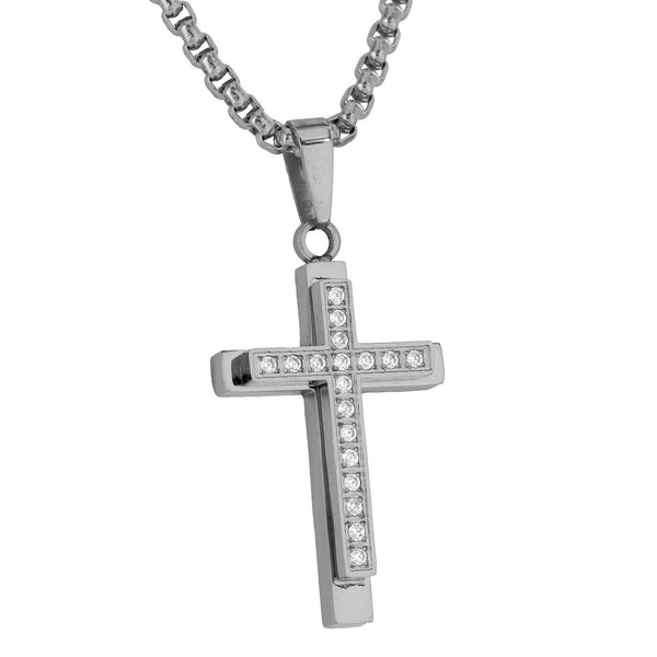 Jesus Cross Pendant Charm Simulated Diamonds Free Necklace Custom Designer Sale
