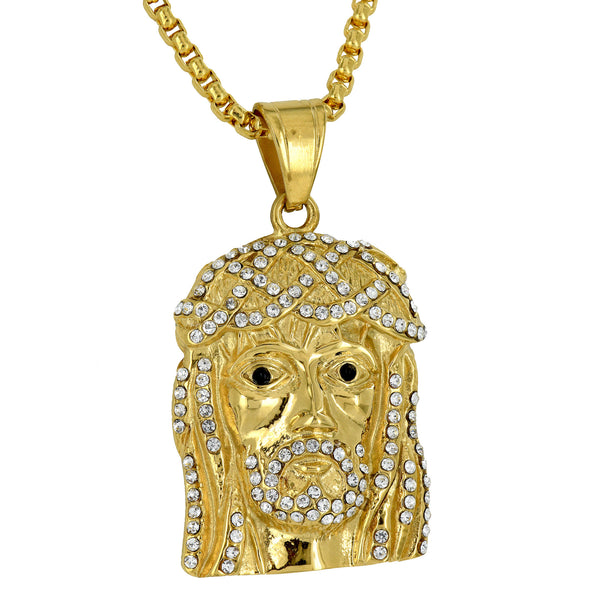 Jesus Christ Face Pendant Gold Over Stainless Steel Simulated Diamonds Necklace
