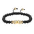 14k Gold Finish Double Head Skull Bracelet Black Matte Bead Link Braided Lock