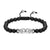 Double Head Skull Bracelet 14k White Gold Finish Black Bead Ball Braided Lock New