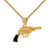 Designer Gun Pendant 14k Gold Finish Over Stainless Steel Box Necklace Mens Custom Charm