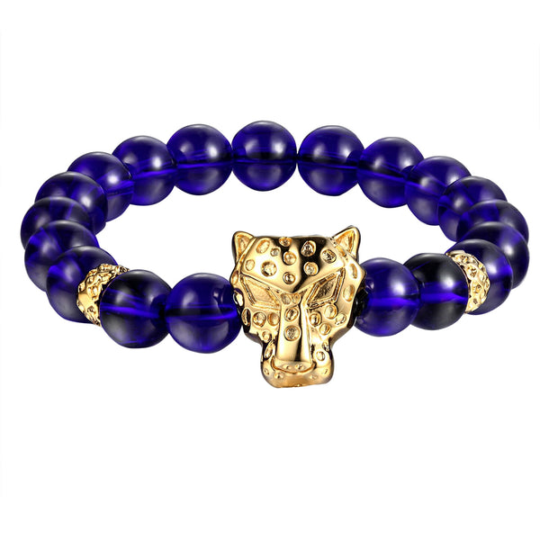 Panther Cheetah Head Bracelet Blue Glossy Beaded Links Shamballa