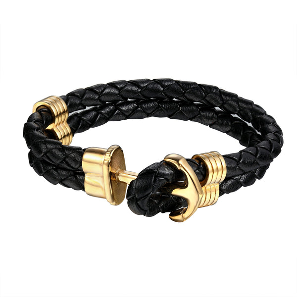 Ship Anchor Bracelet 2 Row Leather Gold Tone 18k Stainless Steel