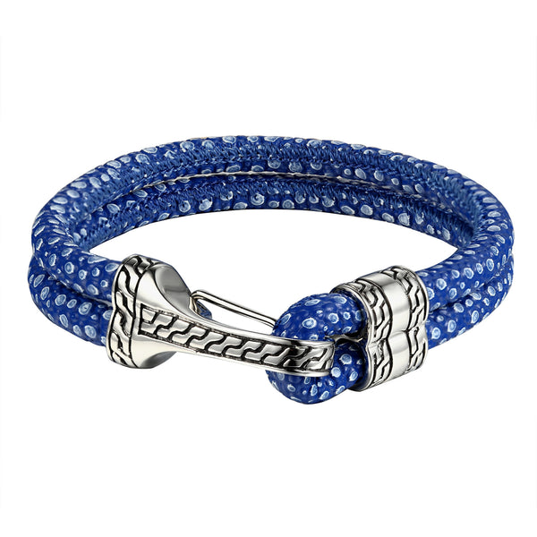 Designer Blue Leather Bracelet For Mens Womens