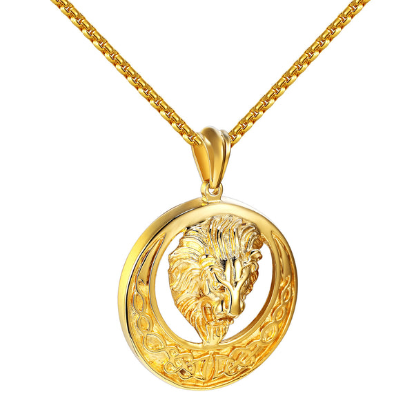Round Lion pendant Yellow Gold finish FREE Box Chain