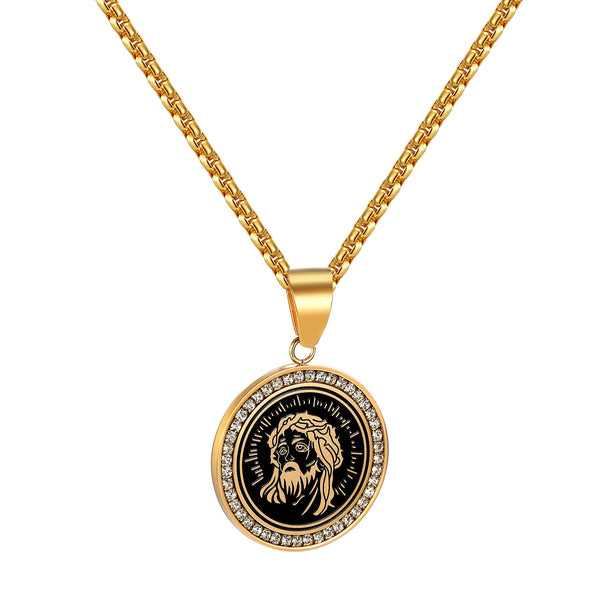 14k Gold Tone Jesus Pendant Stainless Steel Free Box Necklace