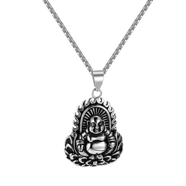 Buddha With Flame Pendant Stainless Steel 24